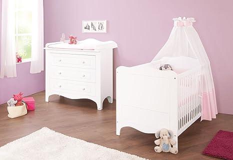 Pinolino Sparset Fleur breit, 2-teilig, Kinderbett (140 x 70 cm) und breite Wickelkommode mit Wickelaufsatz, weiß Edelmatt (Art.-Nr. 09 34 72 B)