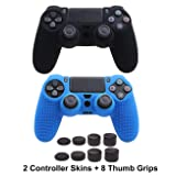 Auswaur PS4 Controller DualShock 4 Skin Grip Anti-Slip Silicone Cover Set Protector Case Compatible for Sony PS4/PS4 Slim/PS4 Pro Controller with 8 Thumb Grips (Black,Blue) (Color: Black,Blue)