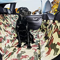 Plush Paws Pet Seat Cover with Seat Anchors Waterproof Side Flaps Hammock Non Slip Silicone Backing Bonus Pair of Best Harness & Seat Belt for Cars, Trucks, SUV\'s & Vehicles Military Camo