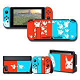 Full Set Stickers Decals for Nintendo Switch, Red & Blue Skin Cover Protector Wrap Durable Protection Faceplate Console Joy-Con Dock (Color: Red&Blue)