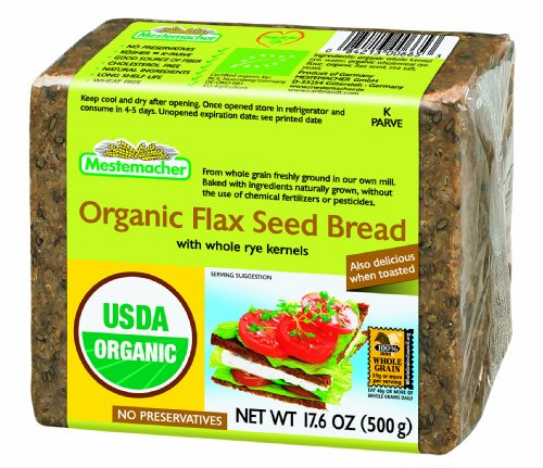 Mestemacher Organic Flaxseed Bread, 17.6 Ounce Units (Pack of 12)