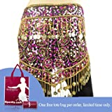 Bellyqueen Dangling Dazzling Gold Coins Belly Dance Hip scarf, Nobler V-Shape