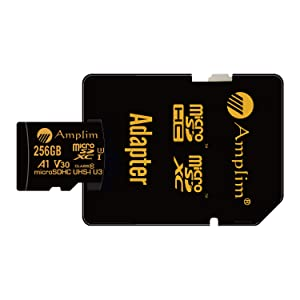 2-Pack 256GB Micro SD Card Plus Adapter - Amplim 256 GB MicroSD SDXC V30 A1 U3 Class 10 Ultra High Speed 100MB/s UHS-I TF XC MicroSDXC Memory Card for Cell Phone, Nintendo, Galaxy, Fire, Gopro Camera (Color: Black 2X 256GB, Tamaño: MicroSD)