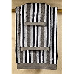 6 Piece Luxury Bath Towel Set with Striped Designs on Clearance Bulk, 100% Cotton, Charcoal