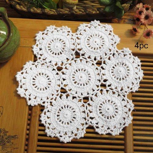 kilofly Crochet Cotton Lace Table Placemats Doilies Pack, 4pc, White, Blossoms, 10 inch