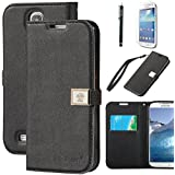Galaxy S4 Case, By Ailun,Wallet Case,PU Leather Case,Credit Card Holder,Flip Cover Skin[Black]with Screen Protect and Styli Pen