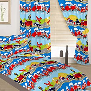 Childrens single bed colourful transport print complete - Complete bedroom sets with curtains ...