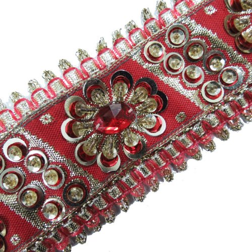 1 Yd Red Sequin Stone Gold Beaded Ribbon Trim Sewing