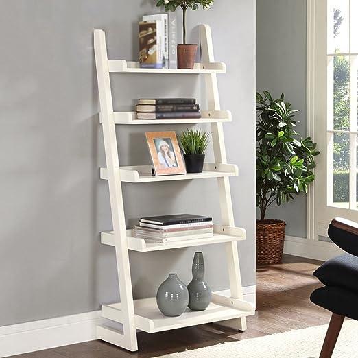 TH Libreria in legno massello europeo Camera da letto Semplice ripostiglio Tipo Scaffale Scaffale Scaffale a trapezio ( Colore : Milky White )