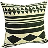 "BENFAN Cotton Linen Square Decorative Throw Pillow Case Cushion Cover with Black Geometric Patterns 17 ""X17 """