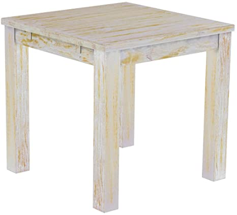 Brasil 'Rio' 80 x 80 cm Solid Pine Wood – Shabby Chic Furniture Dining Table Honey