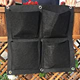 Amgate 4 Pockets Garden Fence Grow Bag Vertical Wall Planter Flower Pot ~ for Indoor/Outdoor, Eco-friendly Recycled Materials, Easy to Hang & Fill