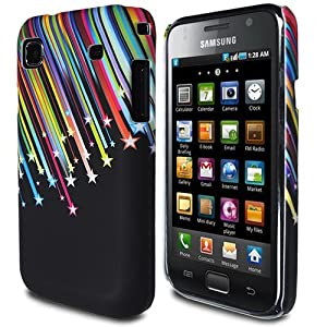 JJOnline Hard Fitted Case Cover Shell For Samsung Galaxy S GT-i9000 - Black Colourful Shooting Star Print