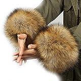 ファーカフス フェイクファー 2個セット 袖口ファー コートと合わせて使える ボリュームたっぷり ふわふわ さらさら 暖かい 冬 ホットアイテム 防寒グッズ 毛皮 手首 ブレスレット 防風 服 寒い 風 遮断 新色登場 (mix-brown)