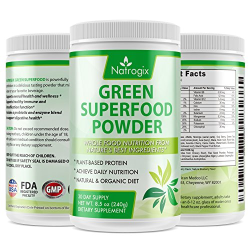 Natrogix Wheat Grass Green Superfood Powder - Whole Vegan Food Nutrition, Riches in Vitamins, Minerals and Antioxidants, Organic & Gluten Free Plant-Based Protein, Made in USA (8.5 Oz). (Wheatgrass Juice Powder Bulk compare prices)