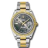 Rolex Datejust II 41 Grey Green Roman Dial Steel 18k Yellow Gold and Diamonds Mens Watch 116333