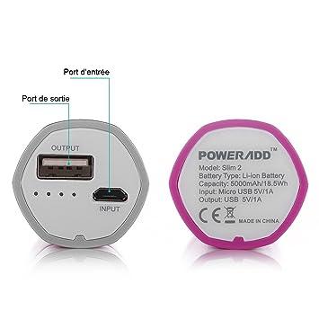 poweradd slim2 5000mah chargeur chargeur portable batterie de secours externe externe. Black Bedroom Furniture Sets. Home Design Ideas