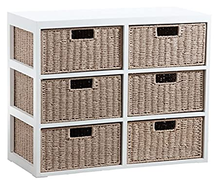 Wooden 6 Drawer Chest and Paper with Silver Stitching