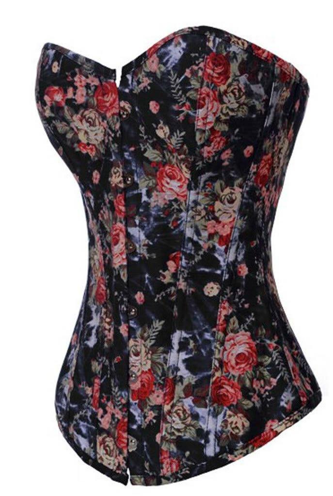 Alivila.Y Fashion Corset Women's Vintage Floral Denim Corset Bustier 0