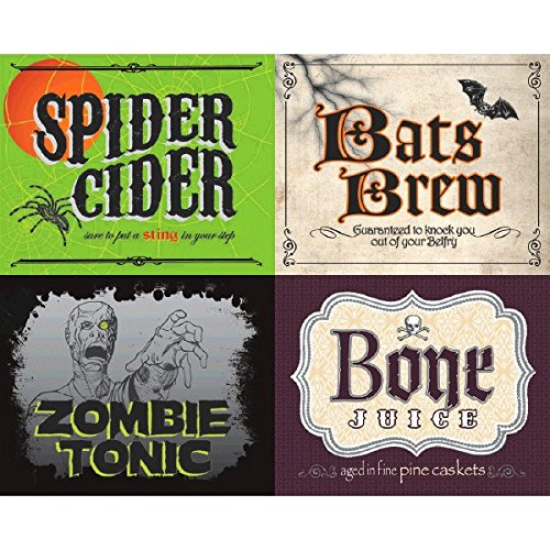 Amscan-Spooky-Halloween-Party-2-Liter-Bottle-Sticker-Tableware-Multicolor-5-34-x-7-18