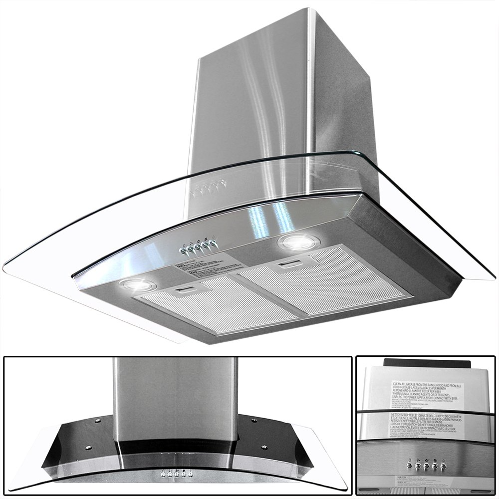 "30"" Kitchen Wall Mount Stainless Steel Glass Range Hood Stove Vents"