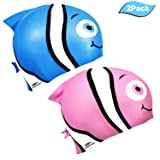 EVERSPORT Kids Swim Cap, Pack of 2, Silicone Toddler Swim Caps Boys Girls, Fun Design Waterproof Junior Swimming Cap Pink Blue Age 3-12 (Minnow) (Color: 2 Pack Swim Caps-Blue & Pink)