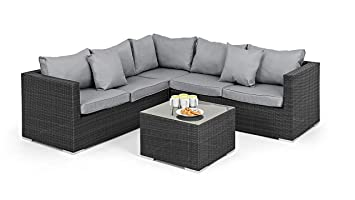 Maze Rattan Porto Corner Group in a Weave - Mixed Grey