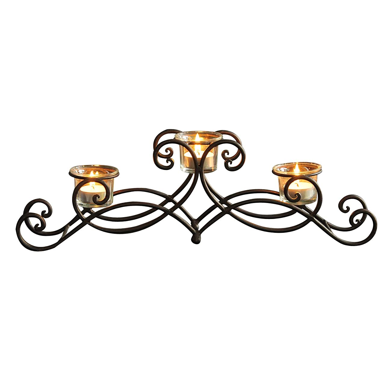 ELEGAN Black Iron Table Top Candle Holder, Holds 3 Tea lights 2
