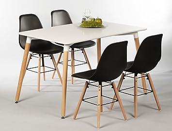 Tischgruppe Esstisch Ilka weiß + 4 Stuhle Ronald schwarz Essgruppe Esszimmer Speisezimmer Wohnzimmer Kuche