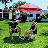 5.5' EasyGoShade™ Red Portable Sun Shade Umbrella with Tripod Base, Beach Stake and Tilt Feature. Great for Soccer, Baseball, Football, Fishing and the Beach - Red Color
