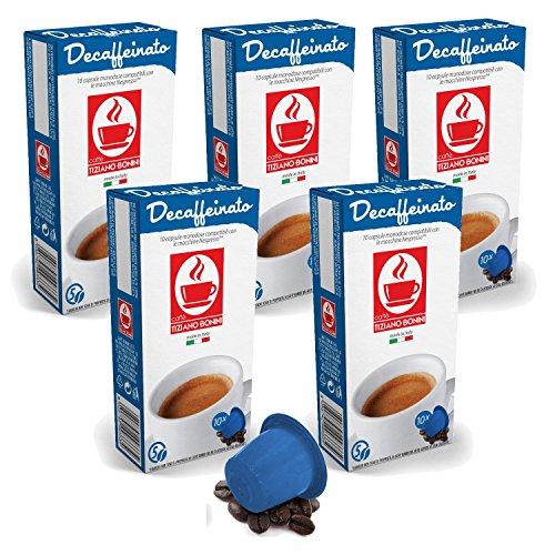 Choose Bonini Coffee Capsules, Decaffeinato - Nespresso Compatible- 5-Pack (5x10 Capsules) by Caffè Tiziano Bonini