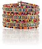 Bohemian Multi-Colored Sequin Gold Cuff Bracelet - SPUNKYsoul Collection