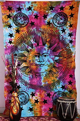 1-X-Psychedelic-Celestial-Sun-Moon-Stars-Tie-Dye-Tapestry-Hippie-Hippy-Wall-Hanging-Indian-Tapestry-Sun-moon-Tapestry-Celestial-Tapestry