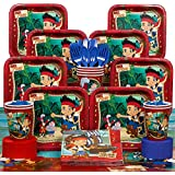 Deluxe Jake & the Neverland Pirates Party Supplies Pack Including Plates, Cups, Tablecover, and Napkins- 16 Guest