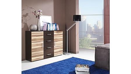 """UNIVERSAL Moderne HIGH GLOSS """"UNI"""" Kommode / Anrichte / Kommode, Lounge, Wohnzimmer, Schlafzimmermöbel, hochglänzend, Möbeln - 8 Farbkombinationen erhältlich WENGE / BALTIMORE NUT"""
