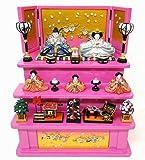 『内裏雛香月中木製三段飾り桜(桃)』雛人形