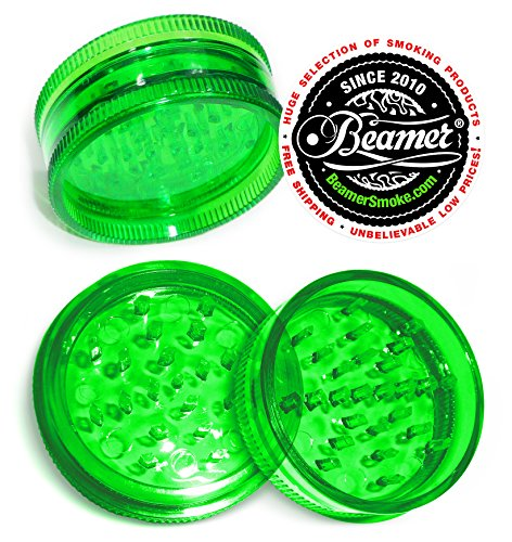 57mm-2-Piece-47-Teeth-VIRGIN-ACRYLIC-Grinder-Spice-Mill-For-Rolling-Tobacco-Coffee-Herbs-Spices-Limited-Beamer-Sticker-Can-use-with-Cigarette-Rolling-papers-flavored-papers-Cones-Green