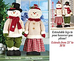 Standing Snowman Boy and the Girl Winter Christmas Couple with Extendable Legs