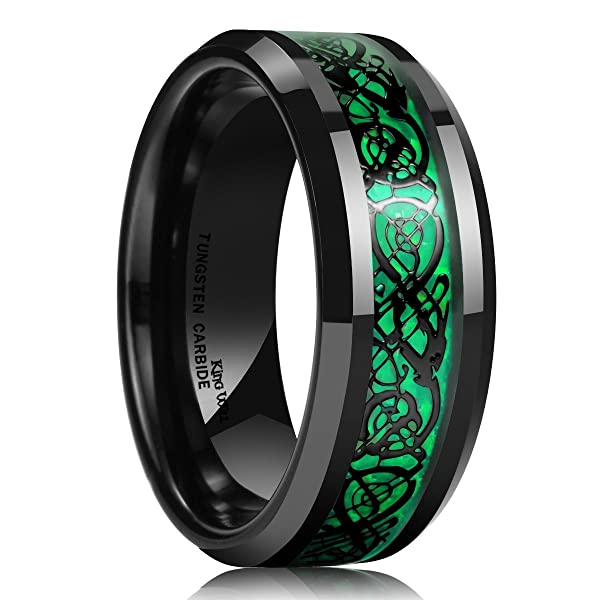 Black Tungsten Carbide Dragon Ring Wedding Band Green Carbon Fiber Comfort Fit 8mm Metal Masters Co