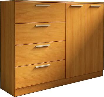 Trasman 1033cerezo Kommode mit 4 Schubladen und 2 Turen, melaminharzbeschichtete Holzspanplatten, kirsch, 120 x 43 x 120 cm