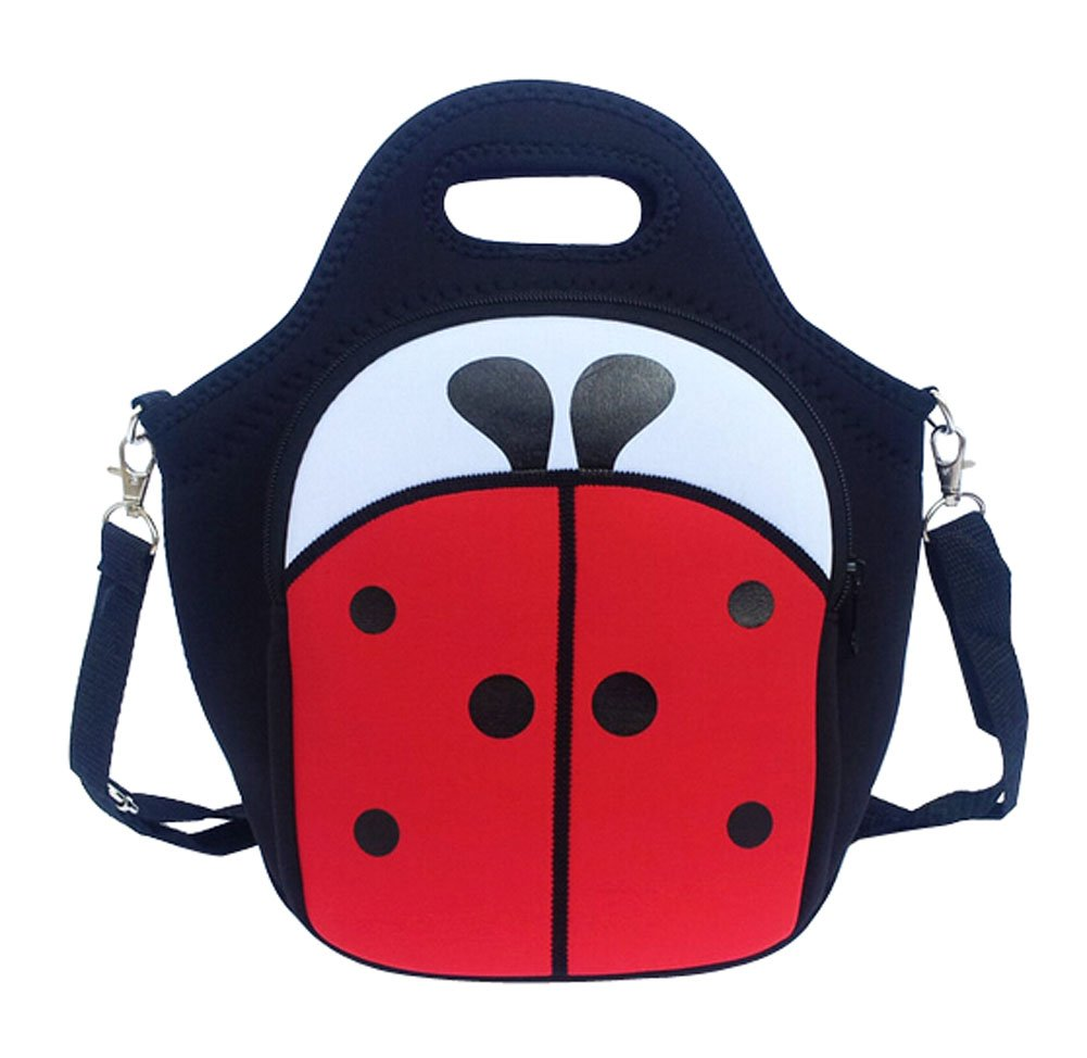Fashion Insulated Bento Bag Creative Adults Children Lunch Bag Black Beetles