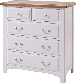 Devon Oak 5 Drawer Chest of Drawers Oak and Grey Painted Finish | Wooden Bedroom Furniture