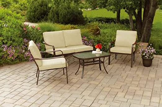 This Four Piece Outdoor Patio Set Comes Complete With A Loveseat, Two Chairs,  And A Coffee Table With Tempered Glass Top That Provide An Intimate And ...