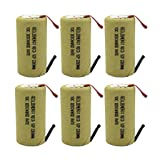GEILIENERGY Sub C 2200mAh NiCd Rechargeable Battery for Power Toolswith 10C Discharge Rate (w/ Tabs)(Pack of 6)