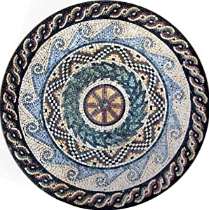 Marble Mosaic Stone Medallion Art Tile Wall Decor, 40