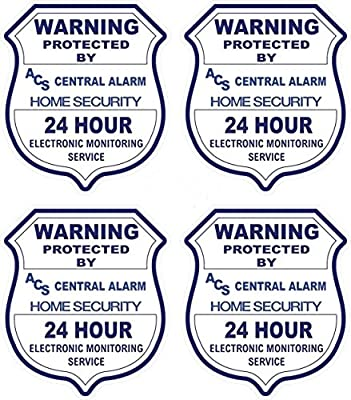 "4 Pcs Greatest Popular ACS Security Stickers Sign Anti-Burglar CCTV Warning 24Hr Home Alarm Size 3.5"" x 4"""