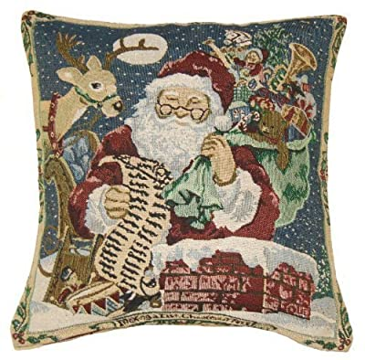 Rooftop Santa & Reindeer Tapestry Cushion Cover 45x45cm (18inch)
