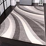 PHC - Tappeto moderno per soggiorno e altro con motivo a onde, colore: Grigio 160 x 230 cm