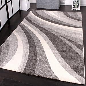 phc tappeto moderno per soggiorno e altro con motivo a onde colore grigio 160 x 230 cm. Black Bedroom Furniture Sets. Home Design Ideas