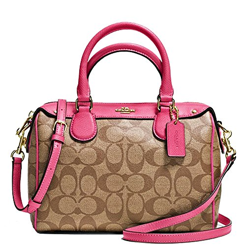 New Authentic COACH Signature Small Mini Bennett Khaki/Dahlia Pink Satchel Crossbody Bag